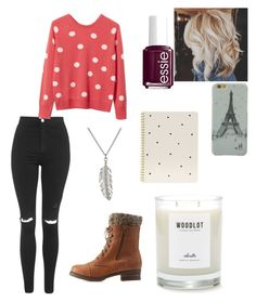 """Untitled #19"" by graciemarie1213 ❤ liked on Polyvore featuring Topshop, Equipment, Charlotte Russe, Delicates by Paloma & Ellie, Essie and Sugar Paper"
