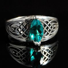 Celtic Heart Knot ring with Lab Created by ObsessoriesStudios, $200.00