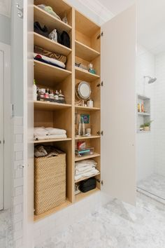Clear bathroom clutter with smart storage solutions! 😬 White Bathroom Storage Cabinet, Bathroom Shelf Decor, Small Bathroom Storage, Bathroom Interior, Bathroom Cabinets, Bathroom Furniture, Tuscan Bathroom, Toilet Storage, Bathroom Organization