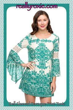 Bell-Sleeved Baroque Print Tunic – Really Roxie