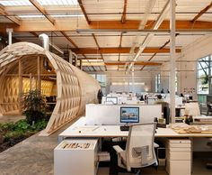 The theme of the office focuses more on wood; wooden ceilings and even a dome that holds the main office in the middle.
