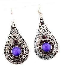Purple Teardrop Tibet Silver Exquisite Crystal Dangle Earrings - FREE SHIPPING! $5.99