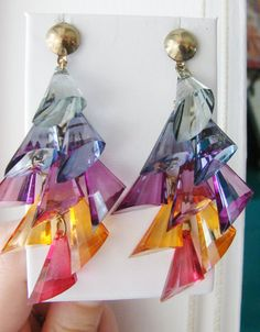 Vintage dangling rainbow jewel cocktail earrings by fayebella