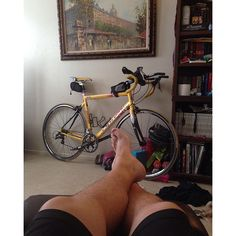 Feet up thinking about the bike. I have a meeting today and really contemplating going for a ride tonight if the group rides. We will see. But forst@time@to@rock@out some #P90x #xstretch by keeptriing