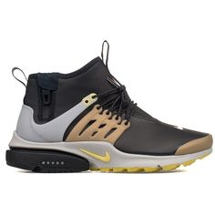 Black White Yellow Air Presto Mid Utility High Top Sneakers ($87) ❤ liked on Polyvore featuring shoes, sneakers, black, nike high tops, nike sneakers, black high top sneakers, black shoes and white and black sneakers
