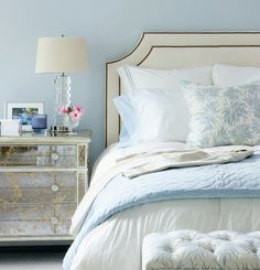 Headboard, like this overall effect, although paint is too blue. Pretty lamp.