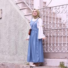Baby blue 🦋🔥 Best choice for summer 2019 👌 Muslim Fashion, Modest Fashion, Hijab Fashion, Korean Fashion, Fashion Dresses, Hijab Dress Party, Hijab Outfit, Dress Outfits, Rock Shirts