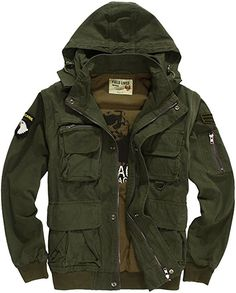 Menschwear Men's Hooded Windbreaker Jacket Military Trench Coat (S, Green) at Amazon Men's Clothing store: