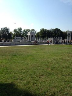 Barricades removed once again and all are coming through the front [at WWII Memorial in DC] /cheers the bikers!