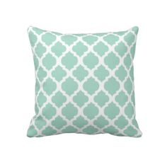 Mint Green and White Moroccan Throw Pillow Cover 18 x 18 Inches for Living Room, Sofa, Etc Color Menta, Mint Color, Custom Pillows, Decorative Pillows, Diy Home Decor On A Budget, My Living Room, New Room, Beach Themes, Decoration