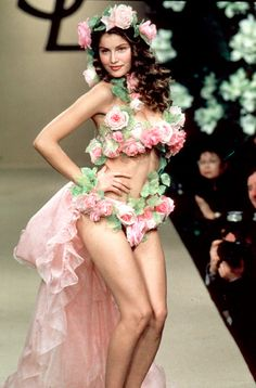 YSL flower costume, pink roses, bikini, fairy