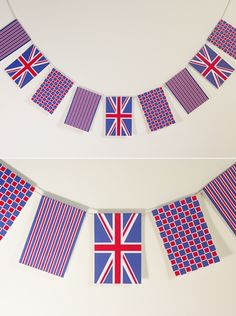 Free easy to make printable DIY red white and blue Jubilee Union Jack celebration flags bunting banner.