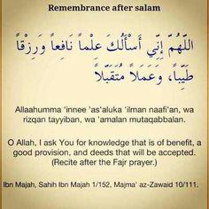 Dua'a Remembrance after salah
