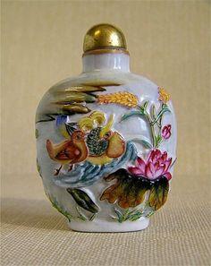 Porcelain Mandarin Ducks and Flowers Snuff Bottle