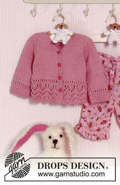 Baby Knitting Patterns Precious Emilia / DROPS Baby – Jacke mit Lochmuster in Muskat