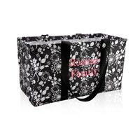 Large Utility Tote in Black Floral Brushstrokes, $35 + $7 personalization