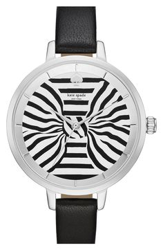 kate spade new york 'metro - bow' leather strap watch, 34mm