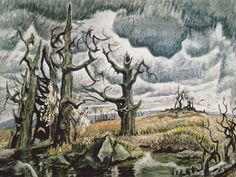Charles Burchfield, An April Mood, 1946-1955 Watercolor and charcoal on joined paper. Whitney Museum of American Art, New York. Purchase, with partial funds from Mr. And Mrs. Lawrence A. Fleischman. Photo by Geoffrey Clements.