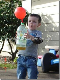 Rocket with vinegar in bottle, and some baking soda in the balloon. Attach the balloon then dump the baking soda.