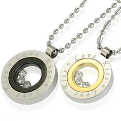 """Floating Crystal """"Love Kiss"""" Medallion Stainless Steel Pendant Necklace Couples Set 16""""/20-24"""""""
