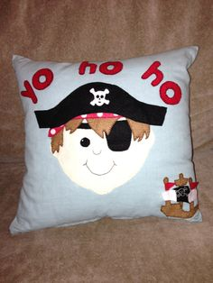 Personalised Pirate applique cushion by PrettyFelt on Etsy, £18.00