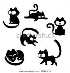 Black cat in various poses