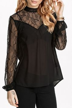 Lace Spliced See-Through Solid Color Blouse