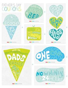 #papercraft #FathersDay ideas: #Coupons Free Printable! Father's Day Coupons