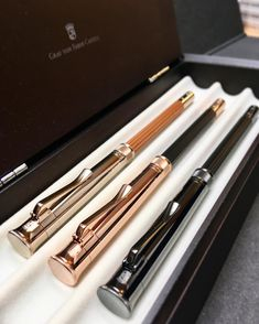 """Beloon jezelf on Instagram: """"When the perfect pencil becomes more perfect! 🤩 #grafvonfabercastell Limited edition Champagne - RoseGold - black edition . .…"""" Graf Von Faber Castell, Black Edition, Champagne, Rose Gold, Pens, Instagram"""