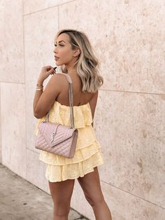 Yellow Spring & Summer Dress | Winter in LA | Pink YSL | Dress and sneakers | Blondie in the City by Hayley Larue
