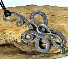 Knotted Hand Forged SNAKE PENDANT Steel Iron Snakes Viper Smithy Hand Made Necklace Amulet Talisman Animal Reptile Reptiles