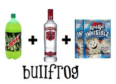 Bullfrog: Take a 2 liter of Mountain Dew and pour it out until it reaches the top of the label. Fill the rest up with vodka. Add 2 packets of invisible Kool- Aid (so it stays bright green) and shake. Serve as is from the bottle. Cheap & easy party drink.