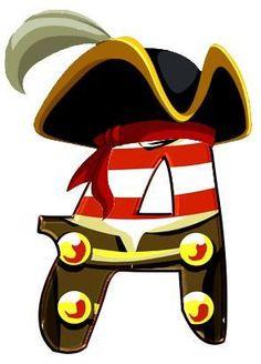 Letras sueltas caracterizadas con el tema de piratas y marinero.