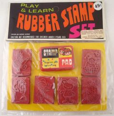 1970s Rubber Stamp Set. My mother had a huge rubber stamp collection that came in a three drawer box. Lots of religious ones.