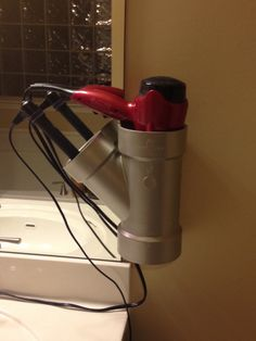 PVC Pipe hair dryer and curling iron/straightener holder