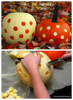 Polka Dot Pumpkin - Unique Pumpkin Carving Ideas