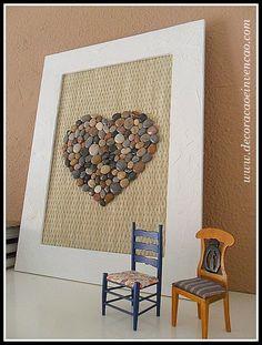 quadro com coração de pedras