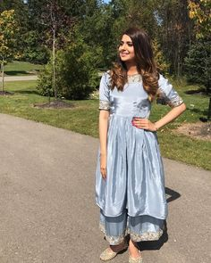 Image may contain: 1 person, standing, outdoor and nature Dress Indian Style, Indian Dresses, Indian Outfits, Designer Punjabi Suits, Indian Designer Wear, Indian Attire, Indian Wear, Nimrat Khaira Suits, Punjabi Suit Boutique