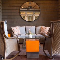 I\'ll have my Saturday morning coffee here, thank you. #Repost @marielauredesign Just finished this screened in porch , residence on the ocean near Charleston sc Perennial-fabric #lloydflandersoutdoorfurniture #seasonalliving #gardenseat #porch #interiordesign #charleston #kiawahisland #resort #gardenseat #luxuryhome #barrierisland #orange #realestate #frenchstyle #frenchdesigner #parsons #lowcountry #mldesign #marielauredesign #patiofurniture #beachdecor #lowcountryliving #exteriordesign #beachl