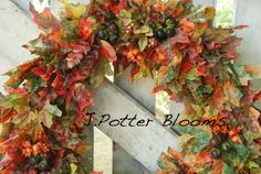 Fall Leaves Autumn Splendor Front Door Decoration by JPotterBlooms, $59.00