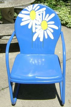 Vintage Collectible 1950's Metal Lawn Chair, Restored and Brightly Painted: