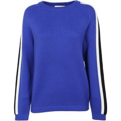 Val Sweater (18.145 RUB) ❤ liked on Polyvore featuring tops, sweaters, blue, blue long sleeve top, tory burch tops, tory burch, extra long sleeve sweater and blue sweater