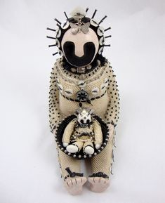 """""""That was Then"""" By Judy Mulford Clay figure made in the covered with waxed linen looping, beads, waxed linen, polymer clay, paint. Weird Art, Strange Art, Monster Dolls, Clay Figures, Indigenous Art, Crafty Craft, Beautiful Dolls, Textiles, Textile Art"""