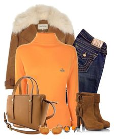 """""""Orange"""" by cris-1121 ❤ liked on Polyvore featuring River Island, True Religion, Vivienne Westwood Red Label, Fratelli Karida, Goldmajor and Corinne McCormack"""