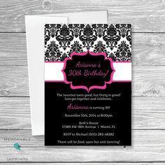 Pink and Black Birthday Invitation  - Damask Invitations - 30th Birthday Ideas - Adult Birthday Invitations - Invitations by MemorableImprints