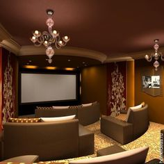 Watching A Romantic Movie In One Of Theatre Room Ideas: The Appealing Three Dimension Formation With Amazing Lighting Home Theater Room Design Ideas ~ Neohl decor ideas Theater Room Decor, Home Theater Setup, At Home Movie Theater, Home Theater Rooms, Home Theater Seating, Home Theater Design, Cinema Room, Home Entertainment, Small Movie Room