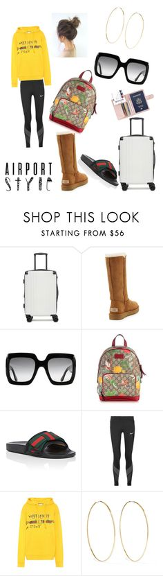 """""""#jetLYFE"""" by ashley-marshall-ii ❤ liked on Polyvore featuring CalPak, UGG, Gucci, NIKE, Magda Butrym and airportstyle"""