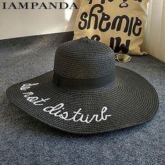 89a5a202 IAMPANDA brand Bohemian letter embroidery cap Big brim Ladies summer straw  hat youth hats for women Shade sun hats Beach hat
