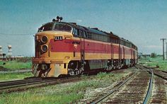 """It is marked on the backside """"MILWAUKEE 23 A matched set of Fairbanks-Morse freight units at Bensenville, Ill, August See photos. Old Trains, Vintage Trains, Fairbanks Morse, Train Info, Railroad Industry, Milwaukee Road, Rapid Transit, Diesel Locomotive, Bahn"""