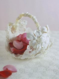 Flower Girl Basket from Vintage Hat looks like the handle is a string of old shell buttons! Love this!